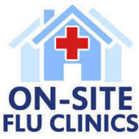 Picture of a house with a cross in it with the words on-site flu clinics