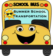 Cartoon of a school bus with the words summer school transportation in the windshield