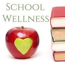 Photo of an apple and books next to the words school wellness