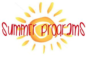 Drawing of a sun with the words summer programs