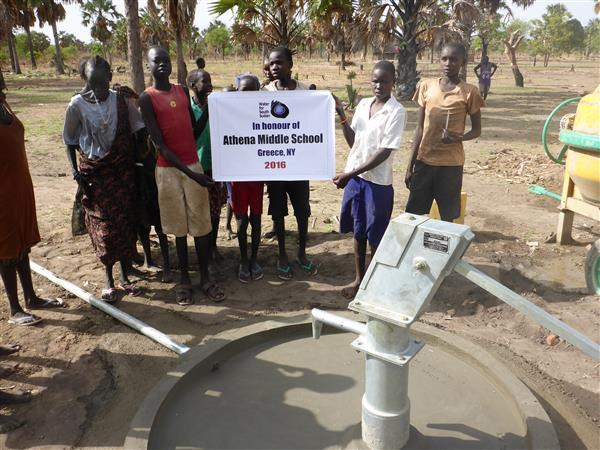 Picture of the well in Sudan made possible by donations from Athena Middle School